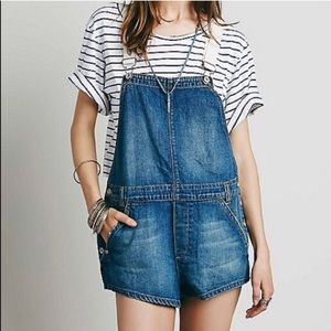 Free People Denim Overall Shorts Size 27